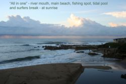 swimming beach, river mouth, tidal pool & fishing rocks - 350 metres from house