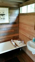 bathroom. Boutique Vintage Forest Cabin