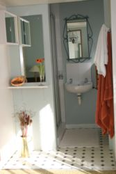 En suite shower , toilet and basin