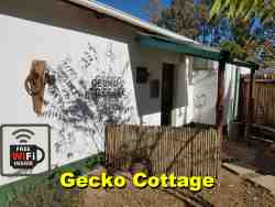 The Gecko cottage.  Two rooms.  one with double bed and the other with three single beds.  TV, kitchen, bathroom with shower only.  separate from the house