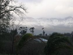 Snow on mountains in winter