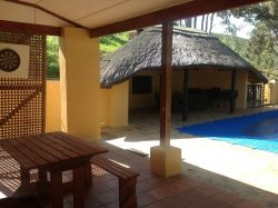 Swaynehuis Pool/Lapa area. This 4-bedroom house is great for large family get-togethers, but no parties please!