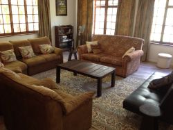 Swaynehuis has beautiful large living room with fireplace.