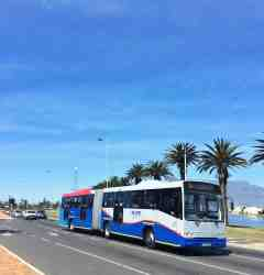 The T01 MyCiti bus stops 300 m from the entrance to Woodbridge Island