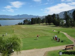Tee-off on the frist straight into the dam
