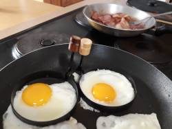 Eggs and bacon for you?