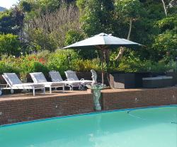The heated swimming pool with dining area