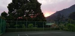 The tennis court with beautiful views