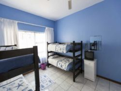 The third bedroom has two sets of bunk beds and can accommodate up to four people