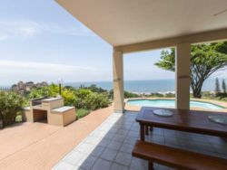 Tranquility has the perfect entertainment area out back. 180 degree views of the ocean, built in braai area and swimming pool