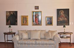 Lounge with old Christian paintings
