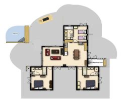 Floorplan of the house. Left bedroom 1 and dining terrace, right bedroom 2 with access to the kitchen terrace, upstairs bedroom 3 with the semi-private terrace.