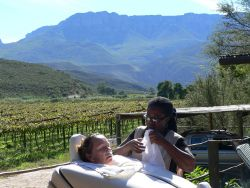 Treatments to die for right on your patio of ur chalet in front of the beautiful winelands